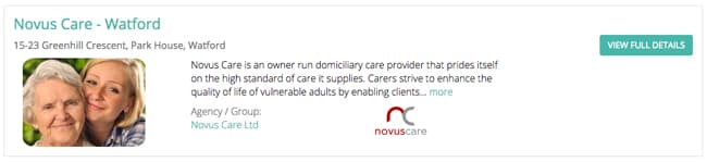Novus Care listed in the Home Care Agency directory