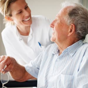 Novus care worker provides personal care to an elderly man