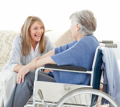 Wheelchair lady with carer